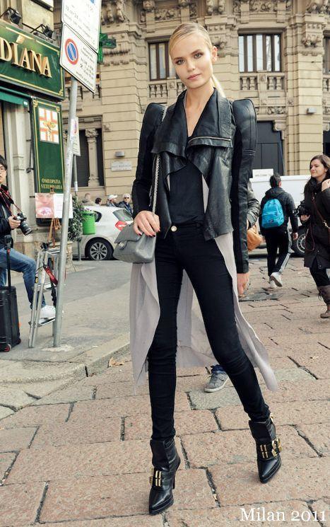 perfectModels Off Duty, Leather Fashion, Natasha Poly, Fashion Style, Street Style, Fashion Inspiration, Leather Jackets, Black Jeans, Street Chic