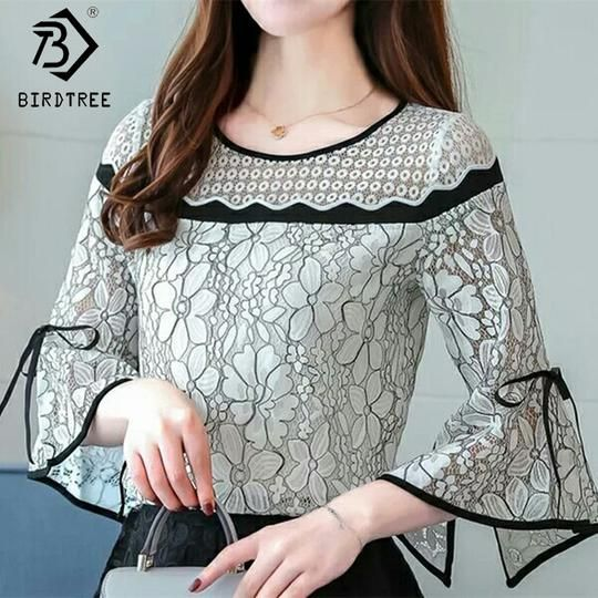 Women Lace Crochet Blouses Flare Sleeve Ladies Tops Fashion Blouses Black&White Shirts 2018 Spring Female Clothings Hots T81030A