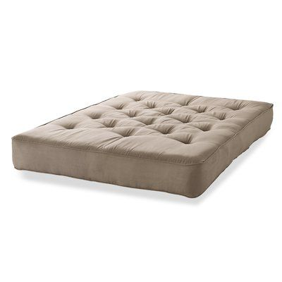 "S2G 8"" Innerspring Queen Size Futon Mattress Color: Taupe Microfiber"