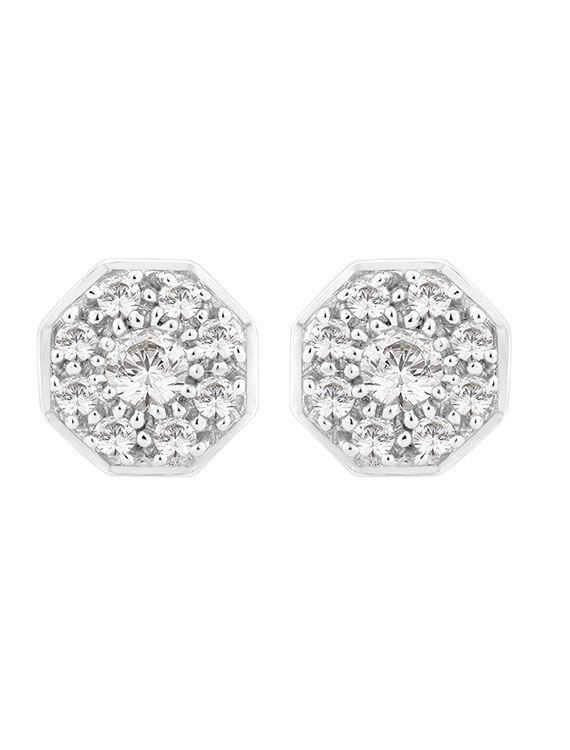 Rhodium Plated Silver & Swarovski Zirconia Cluster Stud Earrings