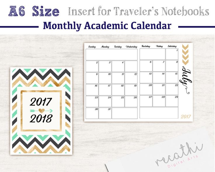 A6 Size TN - Lists Printable Insert for Traveler's Notebooks, July 2017 - July 2018 Monthly Academic Calendar Printable Insert by Recathi on Etsy