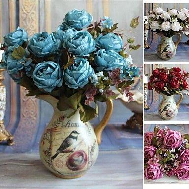 europese kunstmatige liefde rozenboeket decoratieve nep zijden bloemen thuis bruiloft decoratieve bloemen 1pc (meer kleuren) – EUR € 14.99