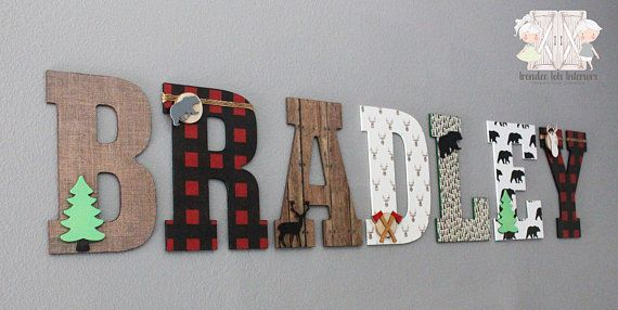 Adding To Our Lumberjack Collection Are Our Large Nursery Letters Perfect For Your Little Lumberja Lumberjack Nursery Decor Lumberjack Nursery Nursery Letters