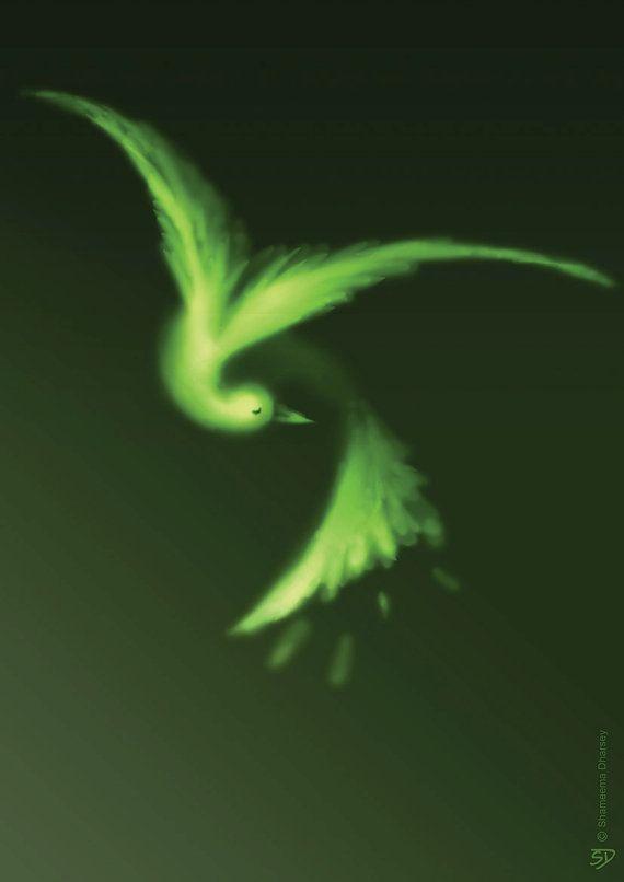 Green Bird Print  Bird Art Nature Art Animal Print by ShamVanDamn
