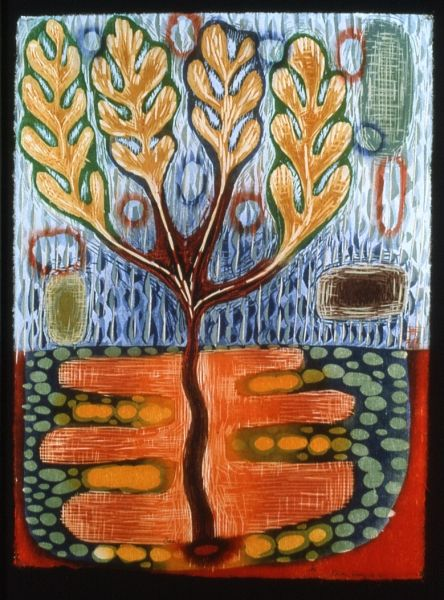 """Oasis""   woodcut by Karen Kunc"