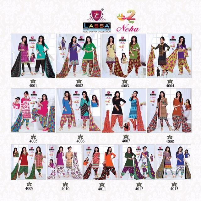 Buy Designer Lassa Neha Two Top Concept Dress Material
