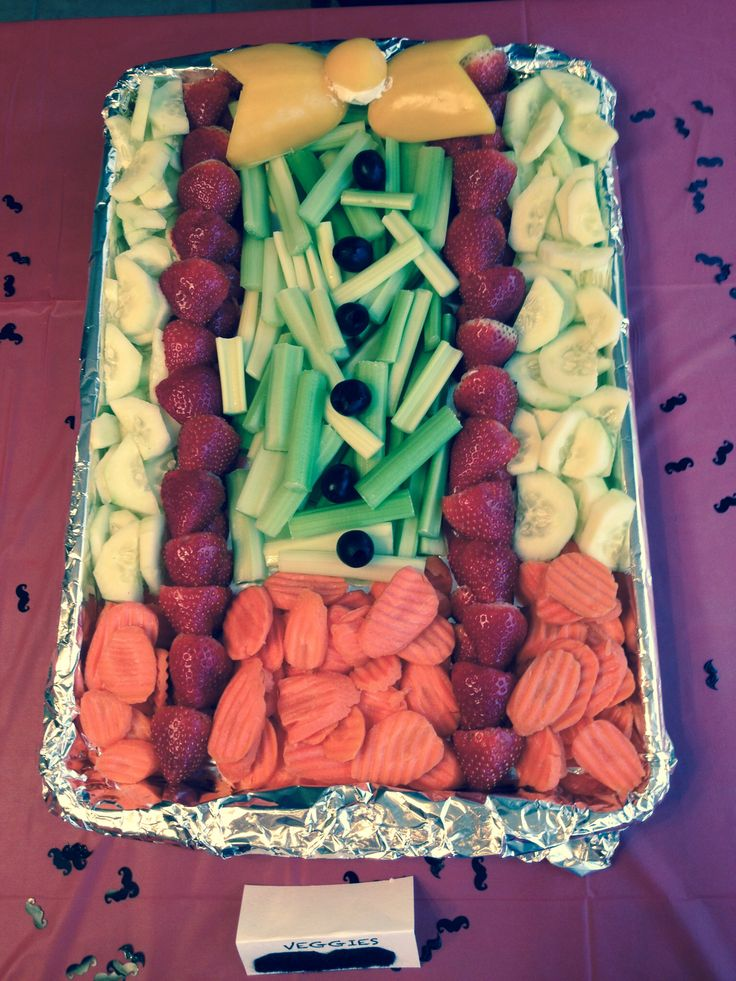 Lil man fruit and veggie tray for mustache birthday party