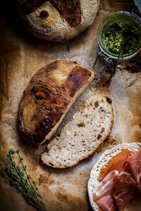rustic rosemary bread + pesto + prosciutto