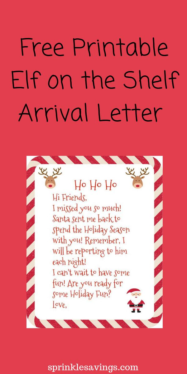 Free printable Elf on the Shelf Arrival Letter Christmas