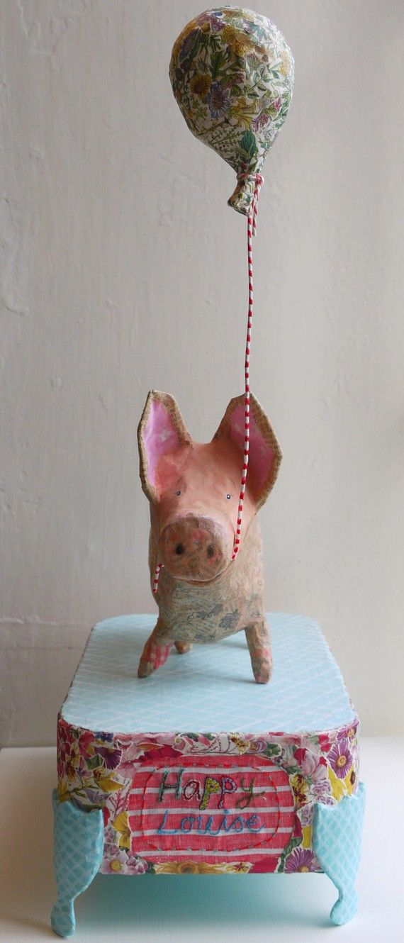 Vanessa the Pig, paper mache delight. E, if you still collected pigs, I would get this one for you!  Or ask you to make it!