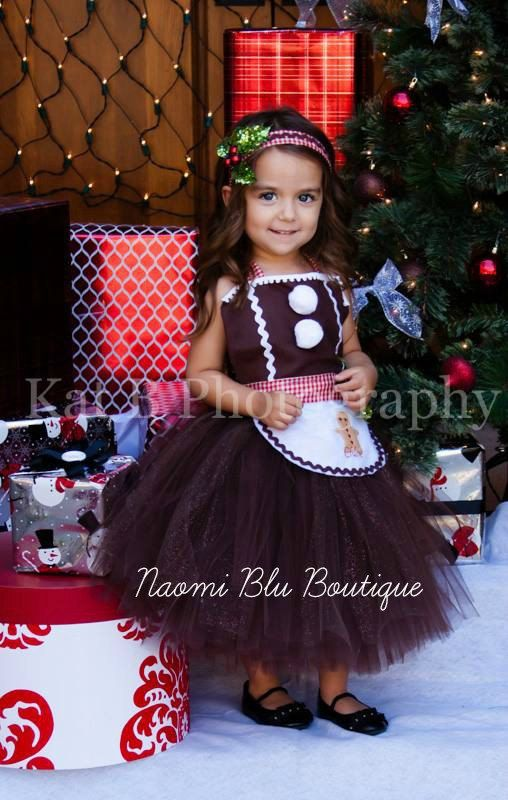 Gingerbread Man Girl Tutu Dress Apron and Headband Great for costume, Holiday photos, mini sessions and more
