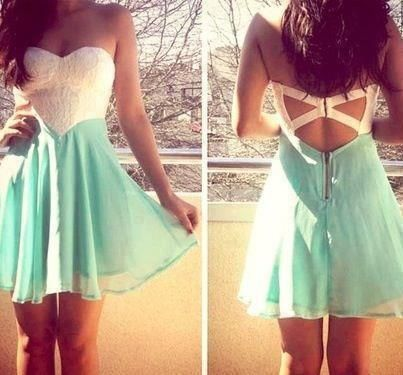 strapless light blue/green/teal and white strapless dress