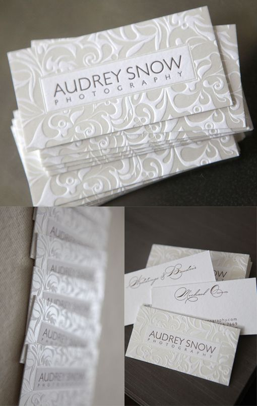 Luxurious Embossed Letterpress Business Card For A Photographer