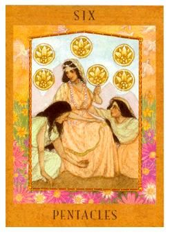 June 23 Tarot Card: Six of Pentacles (Goddess deck) Strive for balance in your finances now; let them come and go. Give what yo… | Tarot. Tarot ...