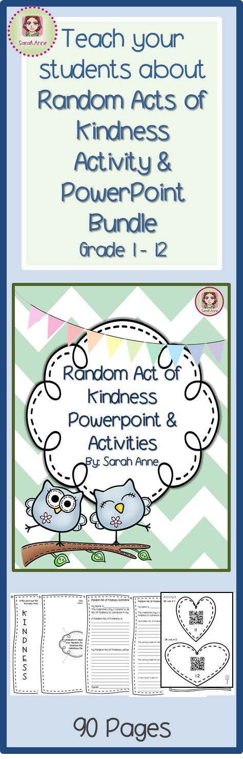Spread love and kindness across your whole school community. Challenge your students (and staff) to commit to at least one Random Act of Kindness. Use this activity and powerpoint bundle to inspire, challenge and show them how they can make a difference in your community... and decorate your classroom or school in the process. 90 Pages in total  #RAK #randomactofkindness #