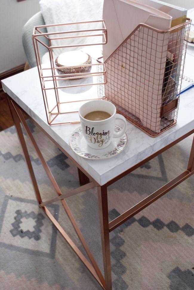 Office Space Details // Rose Gold + Marble Desk // Rose ...