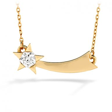 Hearts On Fire Illa Single Diamond Comet Necklace Another beautiful design from the star inspired, popular Illa Collection, this beautiful diamond necklace features a comet design with a brilliant perfectly cut diamond. Dazzling and chic, yet simple and timeless, the Illa Single Diamond Comet Necklace is a style you will wear for years to come. Available in your choice of white, yellow or rose gold.