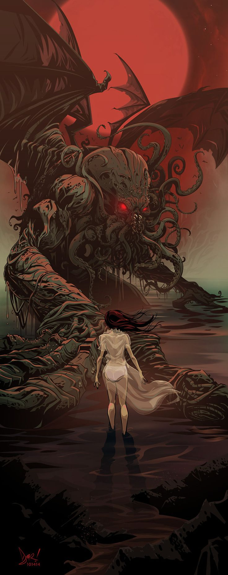 """Cthulhu Fan Art by Derek Ring - """"He is Risen"""""""
