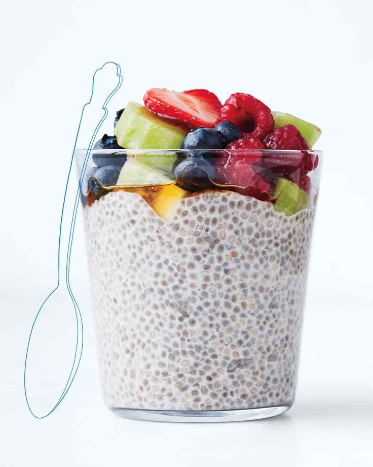 Soaked Chia Seeds  1/4 c chia seeds 1 c water  take 1/2 cup of that add 2 tbs almond milk and whatever topping you want