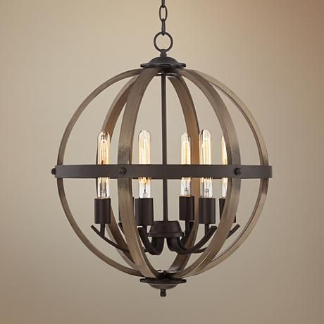 "Kimpton 6-Light 21"" Wide Dark Bronze and Wood Orb Chandelier"