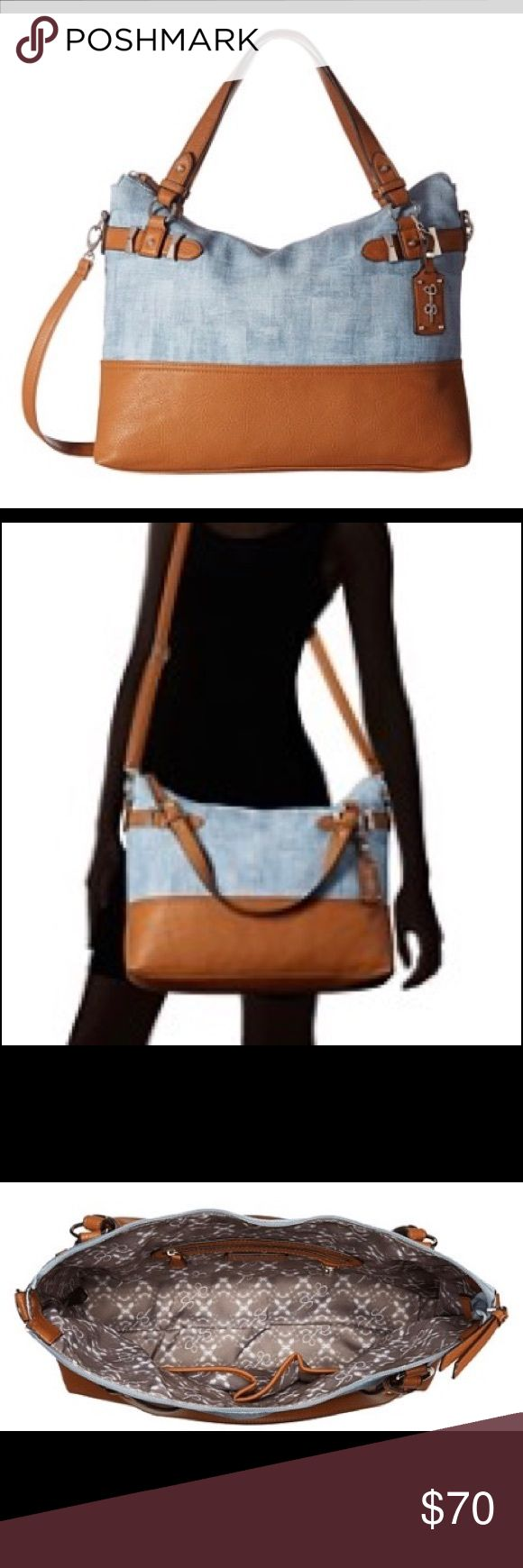 NWT Jessica Simpson Katalina Crossbody Tote Denim Travel in style with this Denim delight from jessica Simpson.  This large, double handled cross-body tote is the perfect way to carry everything you need while still looking sleek. Jessica Simpson Bags Crossbody Bags
