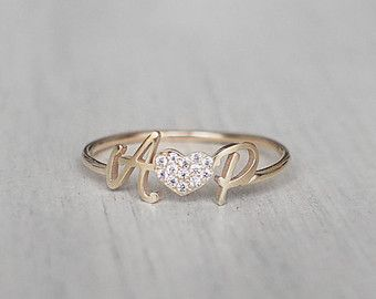 Personalized Name Ring with Birthstone Ring by GracePersonalized