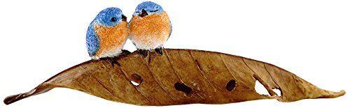 Top Collection Miniature Fairy Garden and Terrarium Statue Bluebirds on Leaf