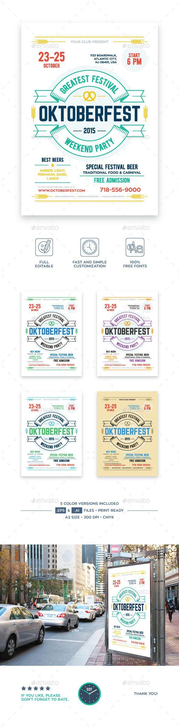 Oktoberfest Beer Festival Poster PSD Template #design Download: http://graphicriver.net/item/oktoberfest-beer-festival-poster/12712778?ref=ksioks