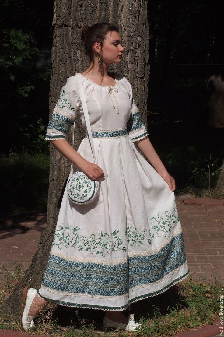 Купить платье Березка - белый, свадебное украшение, свадебная одежда, свадебное платье, русский стиль
