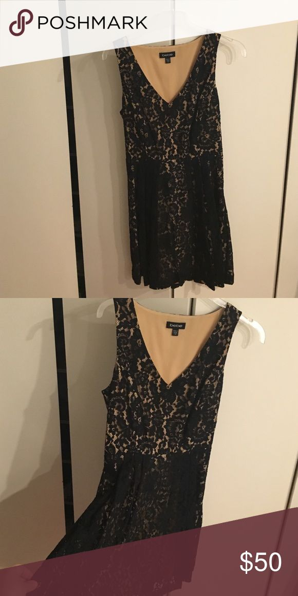 Bebe lace black and nude short dress Bebe lace black and nude short dress size XS bebe Dresses Mini