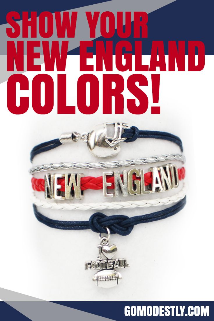 Show your New England colors with this New England football bracelet, just in time for football season.