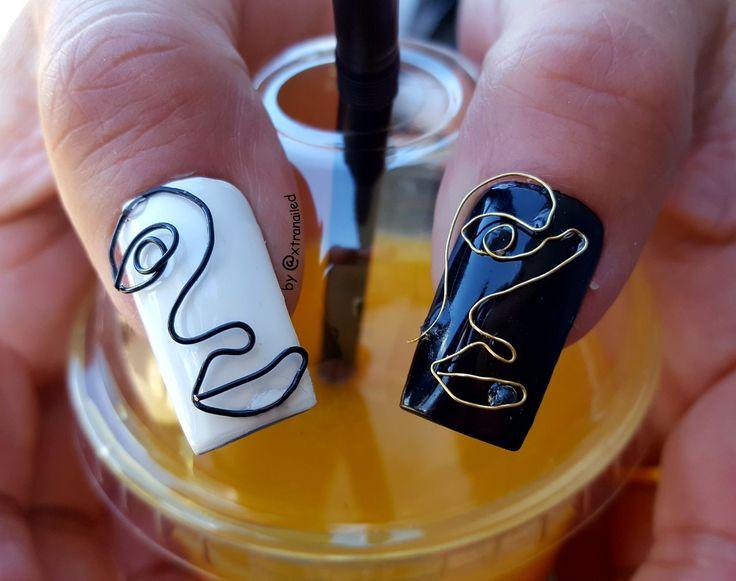 Wirenails / wirework nail art #negler #nails #naildesign #wirenailart #wirenails