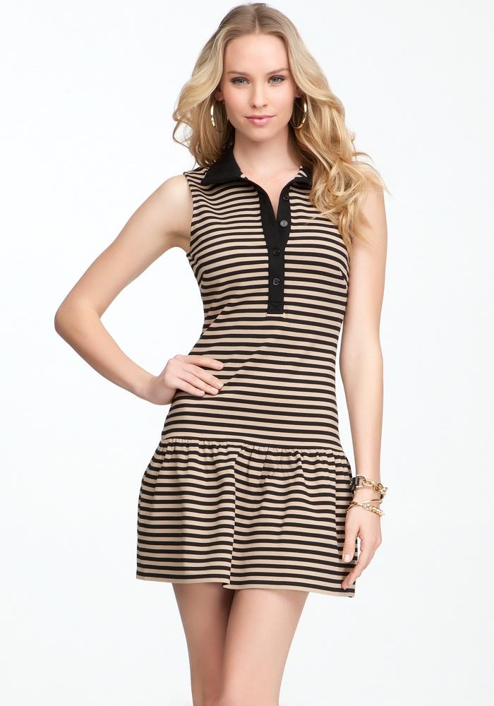 Striped Drop Waist Collar Dress - Black/Cement - S