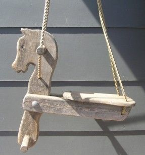 eBay listing: ANTIQUE OLD WOODEN HORSE SWING – 50'S-60'S