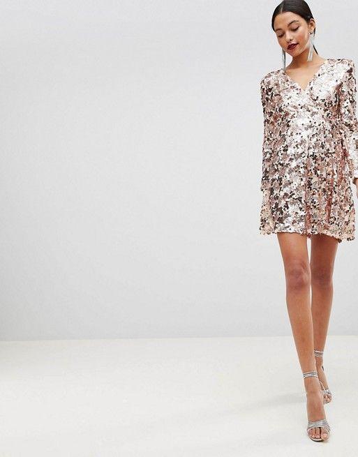 09c7ec0b48 Club L Rose Gold Mini Disc Sequins Wrap Over Skater Dress in 2019 ...