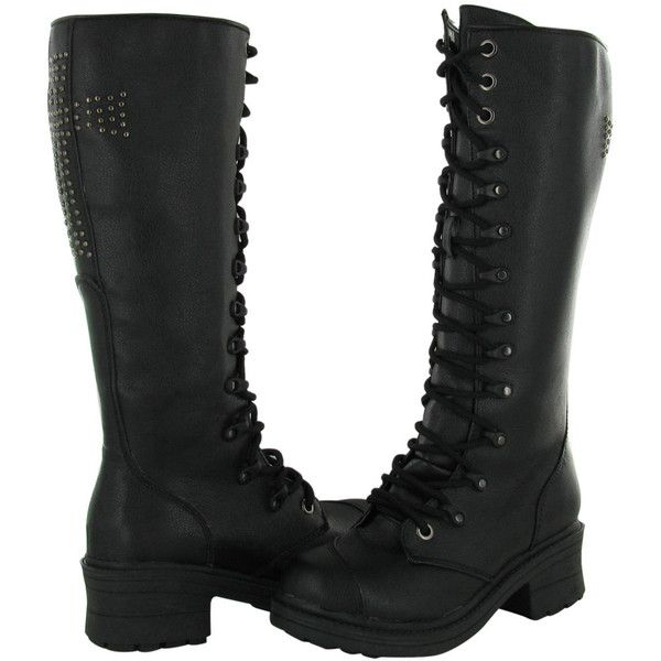 Rivet Head Cross Women's Combat Boots Studded Military ($47) ❤ liked on Polyvore featuring shoes, boots, botas, black, combat boots, studded boots, black boots, combat booties y army boots
