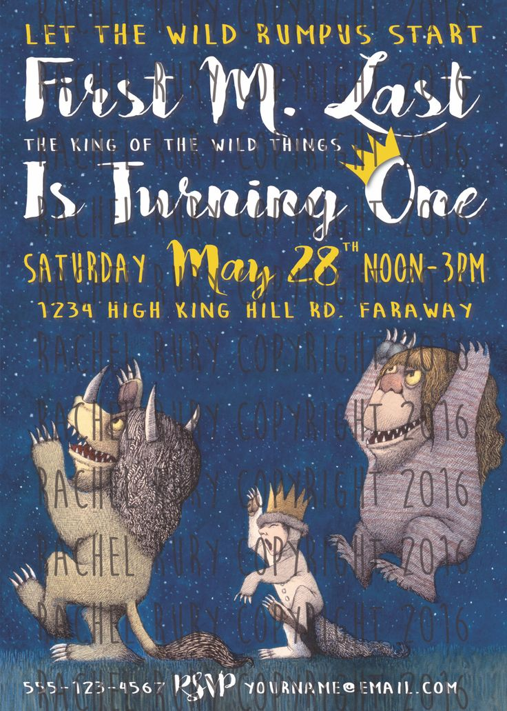 Where The Wild Things Are Custom Birthday Party Invites Invitation Boy Girl First Birthday Rumpus  Email rachelrury@gmail.com to purchase digital file for $7