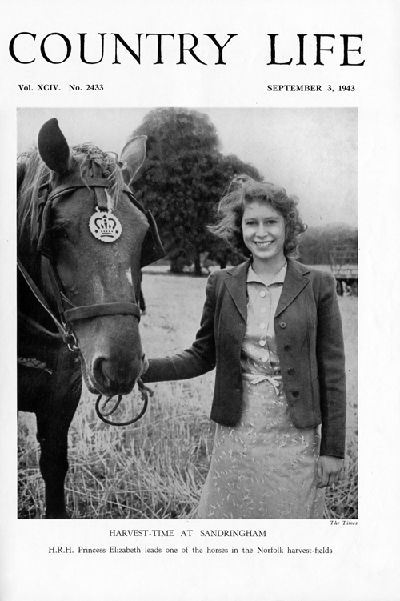 Country Life Magazine, Queen Elizabeth at Sandringham in 1943 at harvest time.