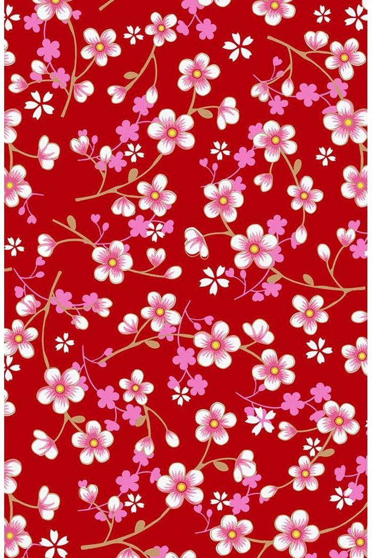 Cherry Blossom behang rood