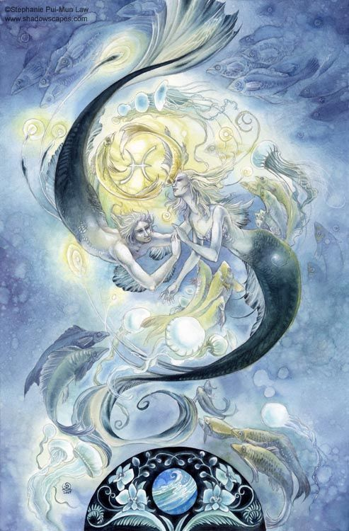 Pisces  Visionaries and dreamers, subsumed self sometimes in the care of others. Spiritual seekers, looking for the answers to the mysteries of life.