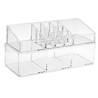 Acrylic-Cosmetic-Display-Stand-Storage-Case-Makeup-Double-deck-KL