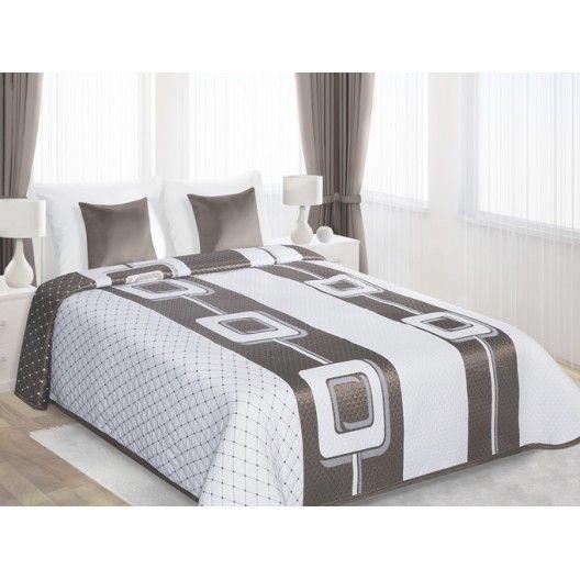 Biele obojstranné prehozy na posteľ s béžovým motívom