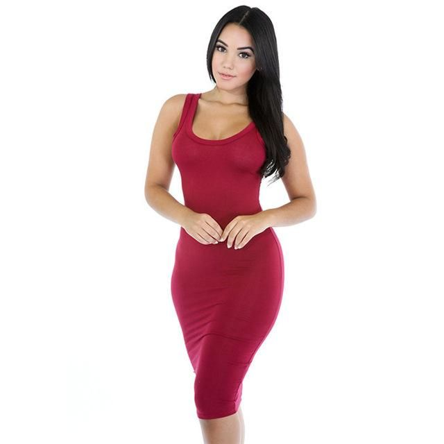 da799e16392 Fashion Women Sexy Basic Dresses Sleeveless Slim Vestidos Sundress Vest  Tanks Wrap Bodycon Dress Solid Party