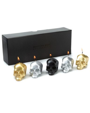 """D.L. Co. """"Memento Mori"""" Set of 5 Skull Candles. (This company makes gorgeous candles, holders; beautiful fragrances.)"""