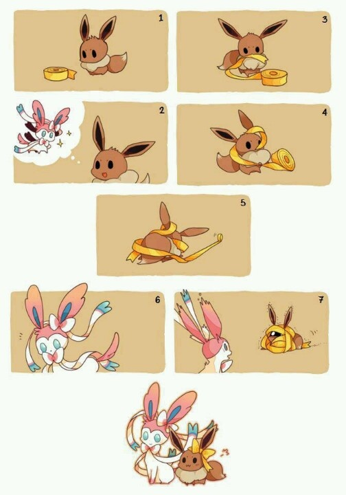 sylveon and eevee. This is pretty much how I feel. (I'd be the Eevee trying  to be a Sylveon)