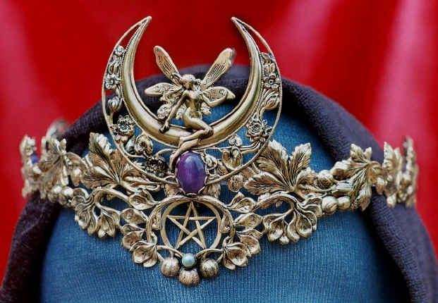 Fairy Flower Moon Crown Crown is available with or without a pentacle and your choice of stone -- azurite, moonstone, or purple jade.