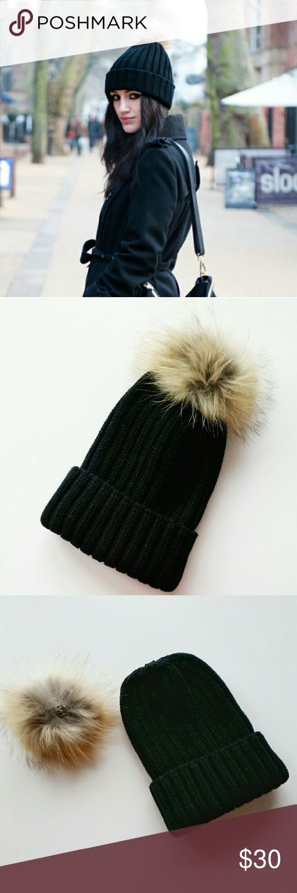 Black Ribbed Real Fur Pom Beanie Black Ribbed Fur Pom Beanie  *One Size *Black ribbed beanie with real fur pom pom. Pom is detachable. You can take it off and wear it as plain black beanie. Also, you take it off, wash your beanie and put it back on.  *100% acrylic and genuine fur  *New boutique item - No tags  *****Covershot is similar style hat for your outfit inspiration. Not actual item. Covershot credit : faiiint.com***** shop_terracotta Accessories Hats