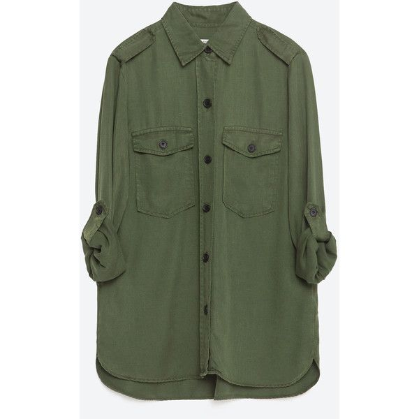 Zara Military Style Shirt (785 ZAR) ❤ liked on Polyvore featuring tops, shirts, long sleeve shirts, khaki, green shirt, shell tops, military top, khaki shirt and zara top