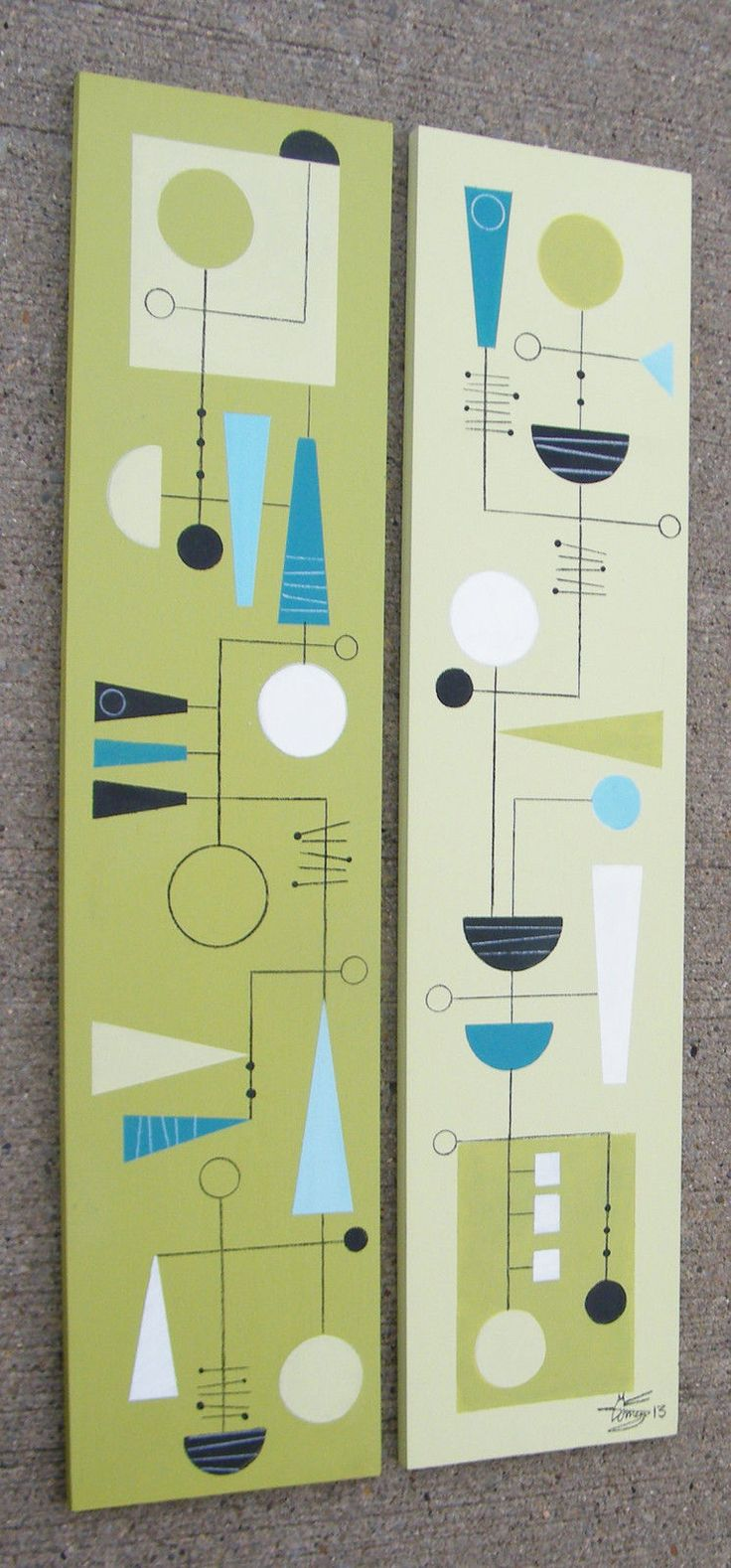 2 El Gato Gomez Paintings Retro Mid Century Modern Abstract Atomic Eames 1950s | eBay..