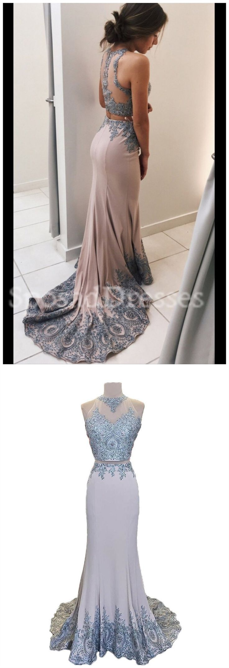Sexy See Through Two Pieces Halter Mermaid Lace Long Custom Evening Prom Dresses, 17394